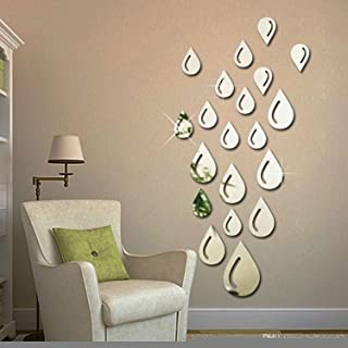 Atulya Arts 20 PCS Silver Droplets Mirror Wall Stickers, Self Adhesive 3D Acrylic Stickers for Wall, Decorative Stickers f...