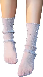 Calcetines de Verano Calcetines Transparentes para Mujer Casual Calcetines Altos hasta La Rodilla