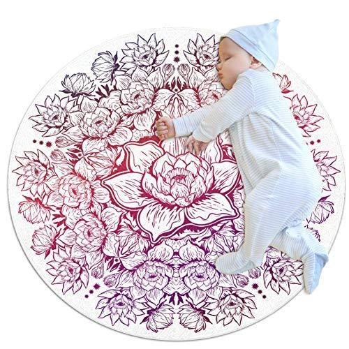 laire Daniel Lotus Illustration großer Baby-Teppich für Kinderzimmer, rund, warm, weich, rutschfest, 70 x 70 cm, mehrfarbig02, 80x80cm/31.5x31.5IN