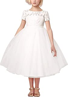 YFCH Vestiti da Cerimonia Bambina Ragazza Eleganti Abiti Filati Netti Ricamo Senza Maniche Matrimonio Partito Comunione Principessa Pizzo