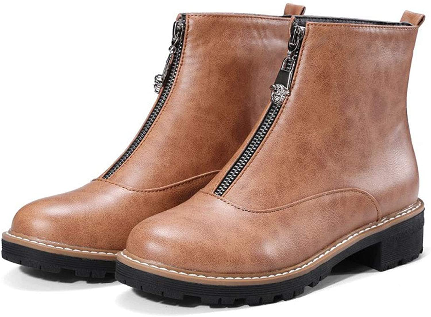 Low-Heeled Martin Boots, Thick Ankle Boots Round Head Zipper Short Boots Waterproof Platform Anti-Skid Knight Low Boots Women's Comfortable Student shoes