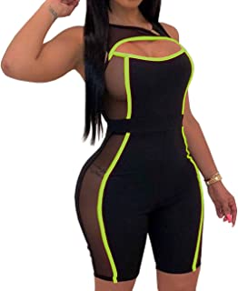 Yiershu Women's Sexy Sleeveless Rompers Bodycon Hollow Out See Through Sheer Mesh Short Pants Jumpsuits Stretchy Clubwear