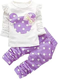 Avidqueen Cute Toddler Baby Girls Clothes Set Long Sleeve T-Shirt and Pants Kids 2pcs Outfits