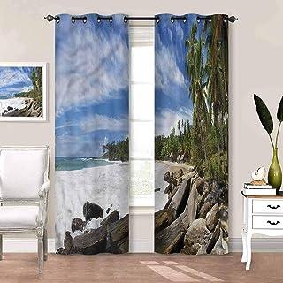 Blackout Window Curtains Beach, Mighty Shores of Sri Lanka Patio Sliding Door Curtain for Villa/Hall/Patio Door W63 x L45 ...