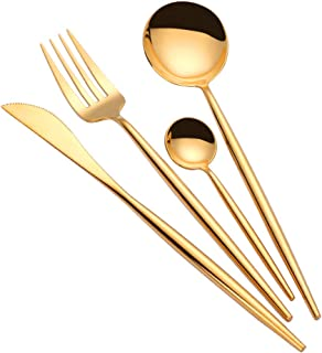 TD HOME 24 pieces Cutlery Set High Mirror Polish Stainless Steel Flatware Kitchen Tableware Silverware Set Service for 6 Gold
