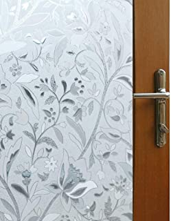 Vakker Bahay 17.7 x 78.7 Inches (45CM by 200CM) Vinyl Static Cling Privacy Window Film Frosted Flower Pattern Decorative Window Film Non Adhesive Stained Privacy Glass Film for Bathroom Office Shower