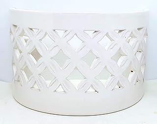 Plafoniera da Parete Traforata Ceramica Bianco Realizzato e Dipinto a mano Nina Palomba Made in Italy Dimensioni 30,5 x 13 cm
