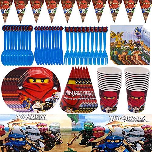 Vajilla Phantom Ninja CYSJ 78 pcs Party Supplies Vajilla para Fiestas Diseño Incluye pancartas, Platos, Tazas, servilletas, Gorro, Cuchara, Tenedores y Cuchillos Party Supplies