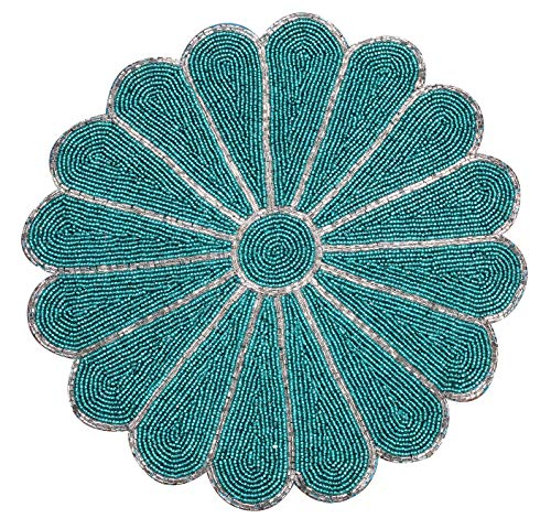 Farmhouse Beaded Placemats for Dining Table - Pack of 1 Measure 13 inches Beaded Placemats Round for Gathering, Occasional Decoration and Family Parties Celebrations in Silver/Teal Colour