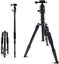 Mifotto Camera Tripod Travel Monopod 45 Inch, Compact Lightweight Carbon Fiber Tripods Stand with 360 Degree Ball Head & 24lb Load for Canon Nikon Sony Gopro Vlog DSLR Video Shooting