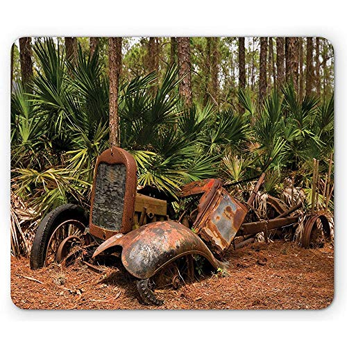 Alfombrilla de ratón rústica, Tractor averiado Oxidado Camión Mula en el Bosque con Imagen de Palmeras Tropicales, Alfombrilla de Goma Antideslizante