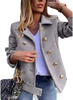Womens Lapel Casual Long Sleeve Double Breasted Pea Coat Jacket