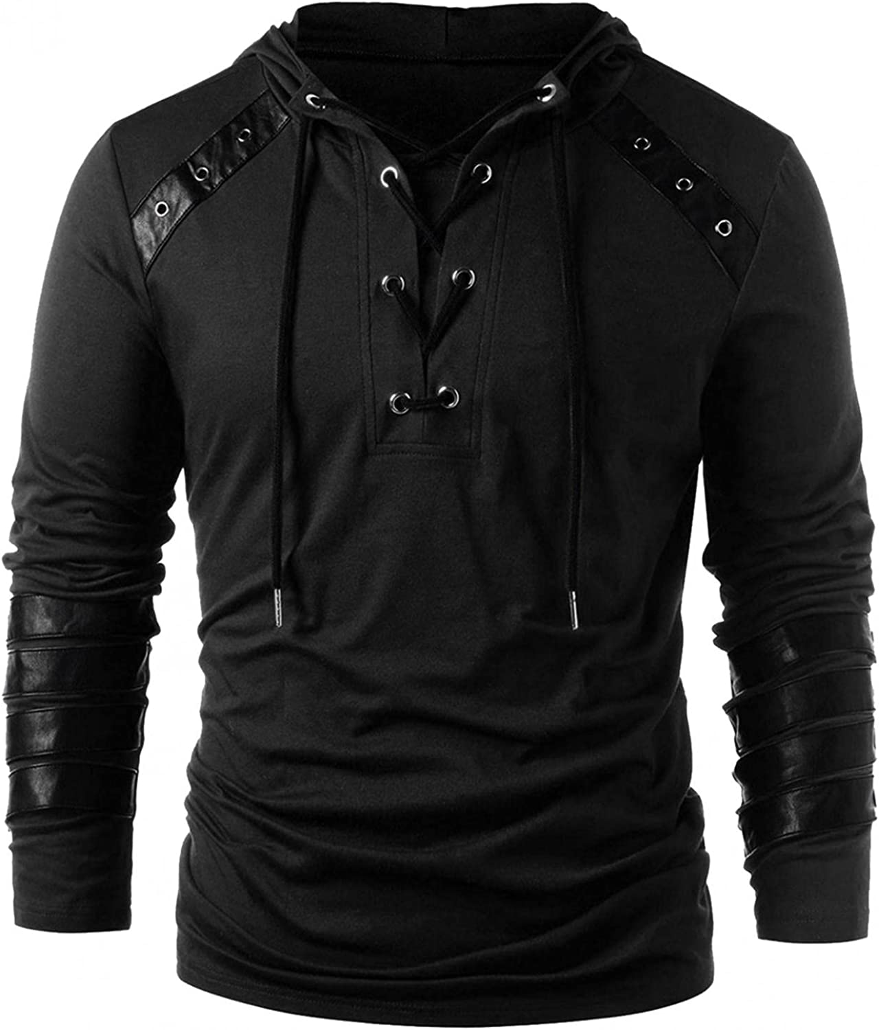Men Pirate Medieval Shirts Long Sleeve Crew Neck Casual Vintage Cowl Neck T-Shirt Tops Blouse Pullover Jumper Sweatshirt
