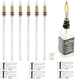 Wine Bottle Torch Kit 6 Pack, Includes 6 Long Life Torch Wicks, Copper Lamp Cover & Brass Wick Mount(13.7 Inch,Bottle not Included)