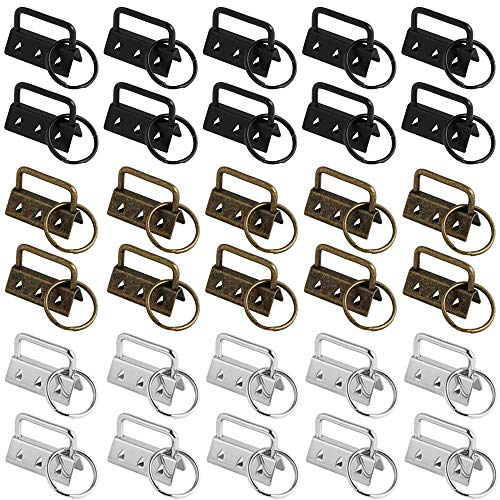 Hardware del Llavero, 30 Piezas Hardware de la Pulsera del Llavero, Key Fob Hardware para Cordón Hecho a Mano Bricolaje Bolso Monedero Fabricación de Suministros(Plata, Bronce, Negro)
