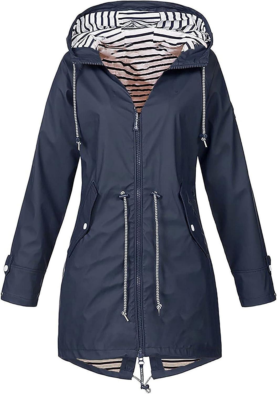 Tantisy Women Fashion Windbreaker Pleated Lightweight Perfect Raincoat Mountain Rain Jacket Travel Thermal Fit Overcoat