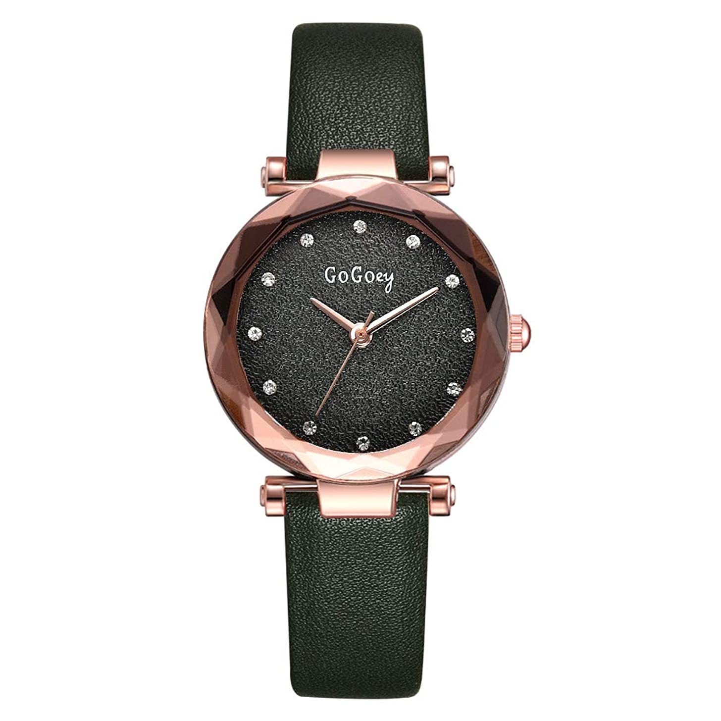 LUCAMORE Womens Quartz Wristwatch Exquisite Casual Watch Unique Dress Watch Rhinestone Dial with Leather Band