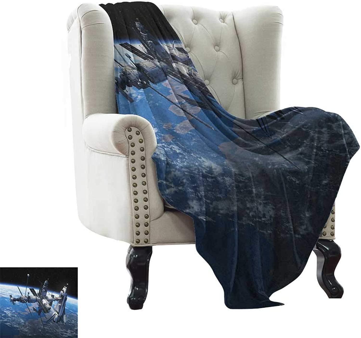 Weighted Blanket for Kids Outer Space,Space Shuttle and Station View Cosmonaut Adventure on Myst Globe Orbit Off, bluee Grey Black 300GSM,Super Soft and Warm,Durable Throw Blanket 60 x62