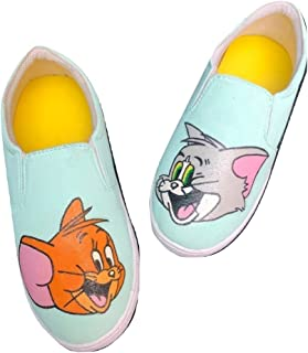 FUNKY N TRENDY Tom and Jerry Mint Hand Painted Waterproof Women's Canvas Casual Loafers