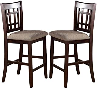 Poundex High Chair with Upholstered Seat and Solid Wood, Beige, Set of 2, Brown