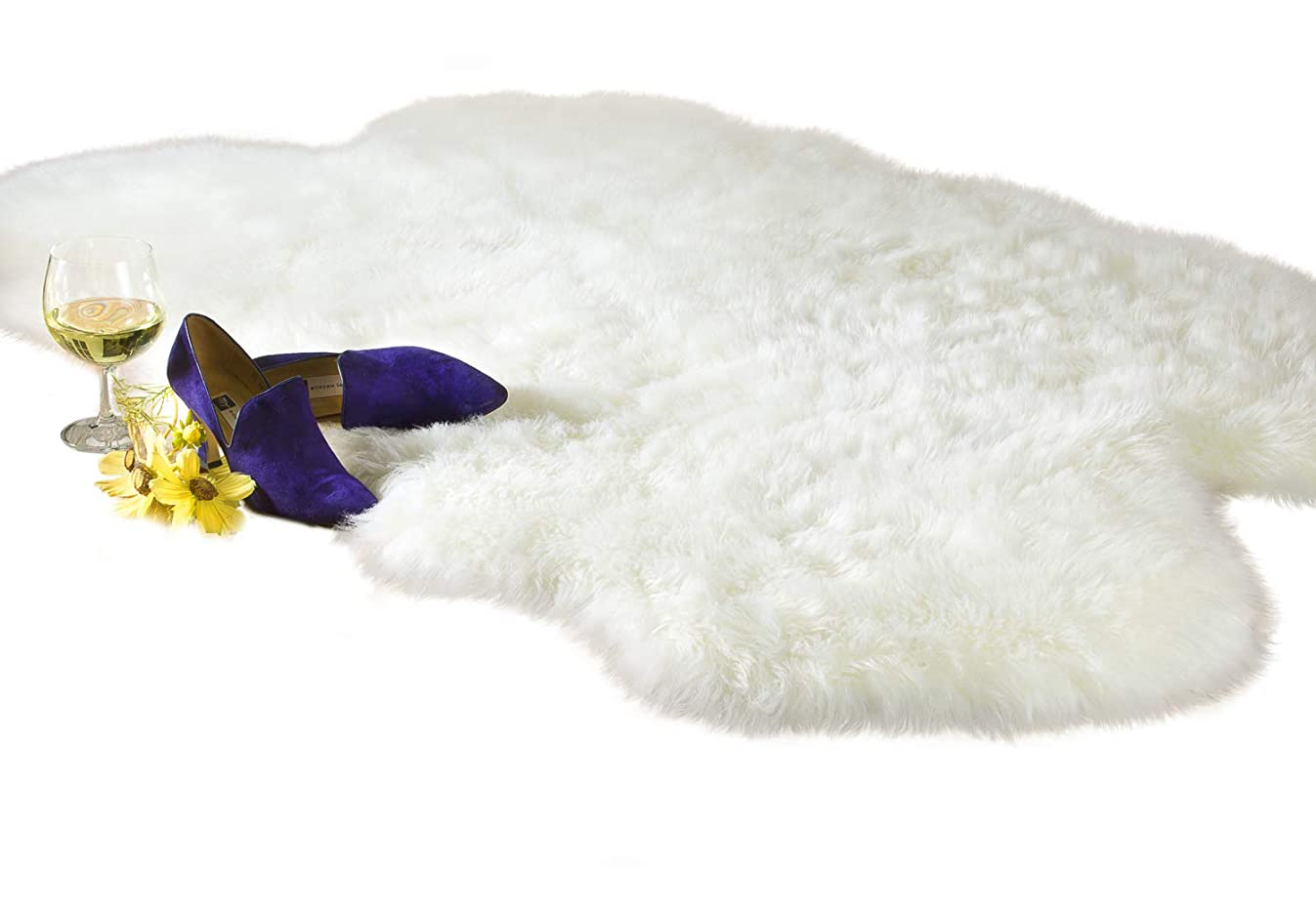 Luxury Faux Fur Sheepskin Rug, Ivory, 4ft x 6ft with Thick Pile and Non Skid Back | Machine Washable, Makes a Soft, Stylish Home Décor Accent for a Kid's Room, Bedroom, Nursery, Living Room or Bath