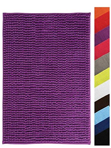 MSV Badteppich Badvorleger Duschvorleger Chenille Hochflor Badematte 40x60 cm – Violett/Lila