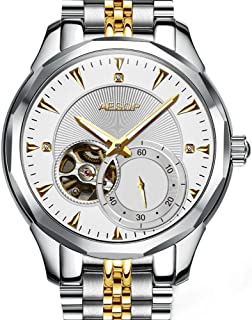 Aesop Luxury Men Skeleton Analog Automatic Self Winding Mechanical Wrist Watch with Steel Band Luminous Silver Gold White