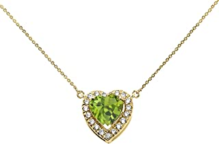 14k Yellow Gold Diamond and August Birthstone Peridot Heart Solitaire Necklace