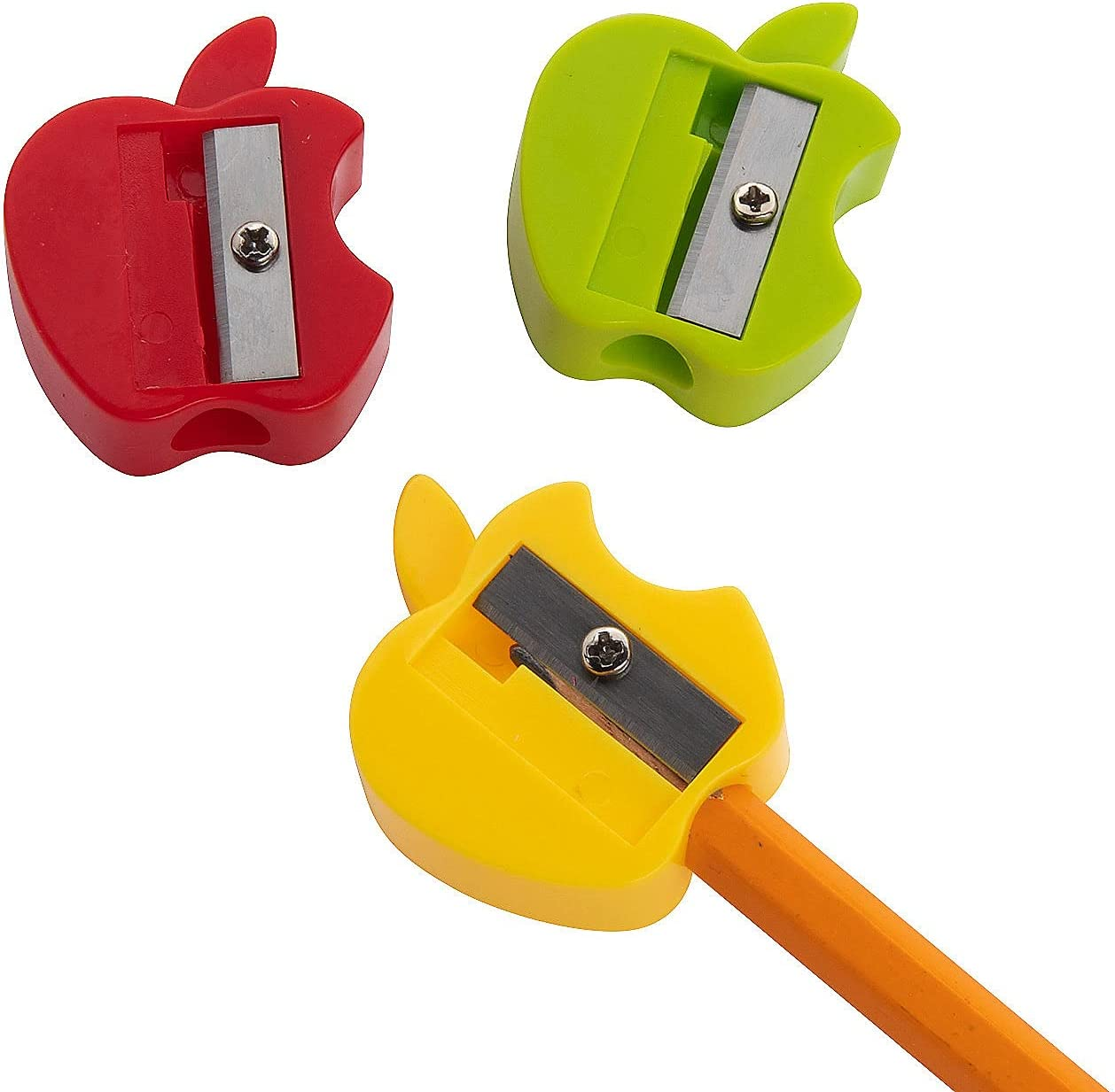 Fun Express Apple-Shaped Pencil Sharpeners - Stationery - 72 Pieces