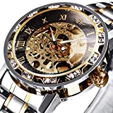 Watches, Men's Watches Mechanical Hand-Winding Skeleton Classic Business Fashion Stainless Steel Steampunk Dress Watch Gold