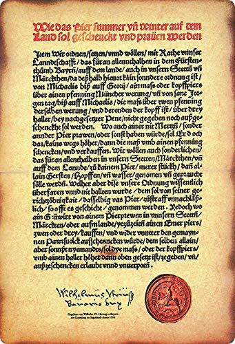 Buddel-Bini Versand 1516 - Cartel decorativo (metal), diseño con texto en alemán 'Reinheitsgebot...