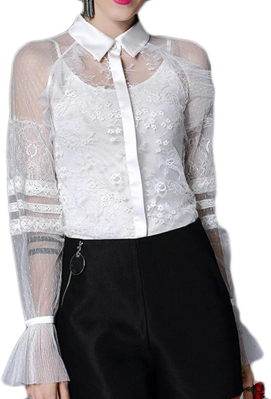 Maweisong Women's Casual Long Sleeve Fashion Lace Button Shirt Top