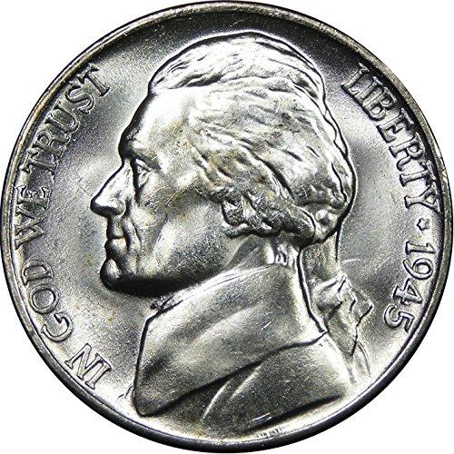 "1942-1945 U.S. Jefferson WWII ""War"" Nickel, 35% Silver - Brilliant Uncirculated Condition"