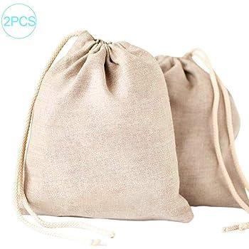 wonderday 2PCS Bolsas de Muselina de algodón, Bolsa de algodón con cordón Bolsas de Malla Reutilizables Bolsa de Almacenamiento Bolsa de Compras ecológica Verde, 20x28cm: Amazon.es: Hogar