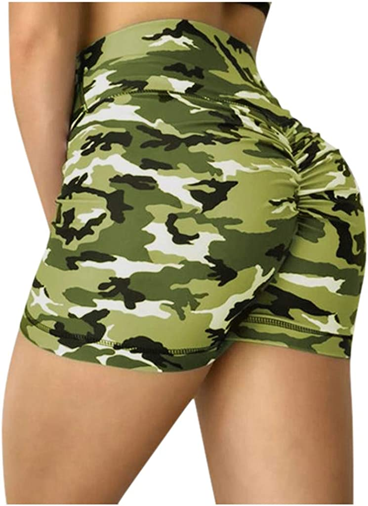 Shorts for Women Athletic,Women's High Waisted Bottom Scrunch Butt Pants Ruched Yoga Shorts Push up Butt Lift Trousers