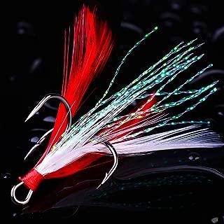 GuaziV Feather Treble Hooks Fishing Hooks 3X Treble Fishing Hooks Strong Fishing Treble Hooks -Size: 2# 4# 6# 8# 10# (Pack of 20)