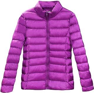 Macondoo Women's Packable Zip Up Lightweight Puffer Stand Collar Down Coat Jacket
