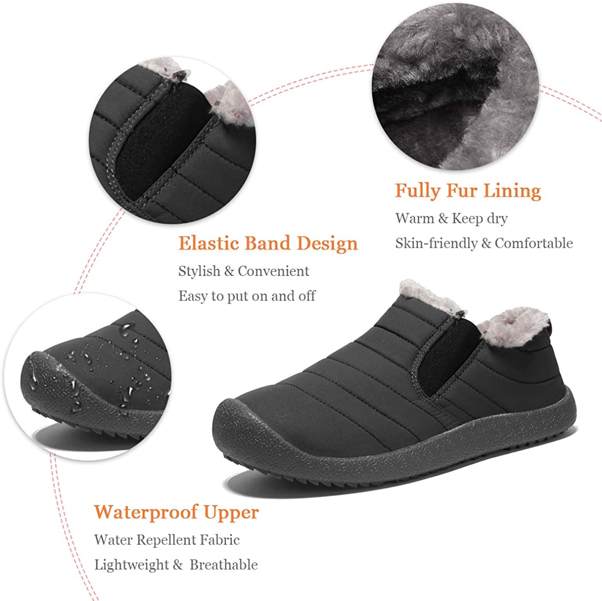 Dacomfy Mens Winter Boots Fur Lined Snow Ankle Boots Outdoor Water Resistant Slip on Sneakers Anti-Slip Warm Comfortable Walking Shoes