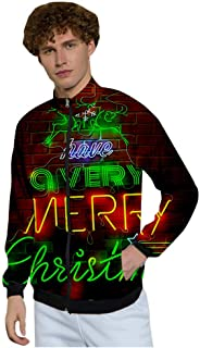 Mens Christmas Sweatshirt Zipper Jacket Outwear Tops Coat with Pocket Slim