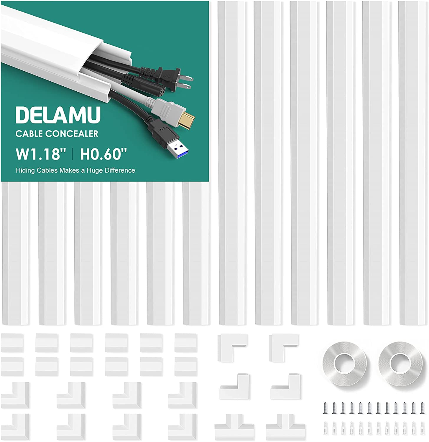 Cord Cover, Delamu 189in Cable Concealer, Paintable Cord Hider Wall, Wire Cover for Cords, Cable Raceway Kit for Office & Home, 12×L15.7in W1.18in H0.6in, White