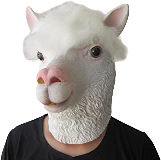Lubber Alpaca Latex Animal Head Mask for Halloween Costume Party