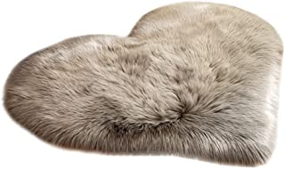 Evangelia.YM Artificial Wool Area Rugs Carpet, Fashion Love Heart Shaggy Fluffy Soft Mats for Living Room Study Bedside Bedroom Winter Warm Floor Carpets (A Gray)