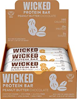 WICKED Protein Bar, Peanut Butter Chocolate, 15g Protein, 2g Sugar, Clean Label Project certified, 12 bars, Gluten Free, GMO Free, Breakfast Bar, Premium Protein Snack, Low Sugar, Nothing Artificial