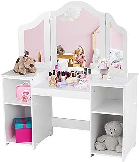 Costway 2 en 1 Coiffeuse pour Enfants avec Miroir Amovible, Bureau Enfant avec 4 Étagères et 3 Panneau Pliables de Miroirs...