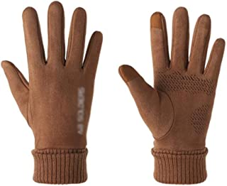 Men's Winter Warm Suede Gloves Outdoor Sports Running Touch Screen Windproof Non-Slip Gloves Anti-Slip Rubber Palm (Color : Brown)