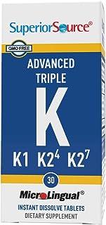 Superior Source Vitamin K1 K2 MK-4 MK-7 Sublingual - Menaquinone 4 500 mcg, Menaquinone 7 50 mcg Instant Dissolve Tablets ...