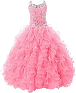 Baoji Girls' Crystal Body Straps Layered Ball Gown Ruffles Pageant Dresses