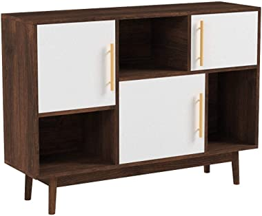 Nathan James Ellipse Multipurpose Storage Cabinet with Display Shelves and Doors, Entryway Modern Buffet or Kitchen Sideboard