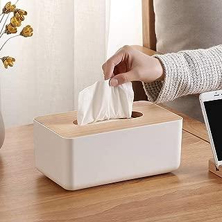 UNIEL Tissue Box Dispenser Wooden Napkin Cover Paper Storage Holder Case Organizer (Rectangle)