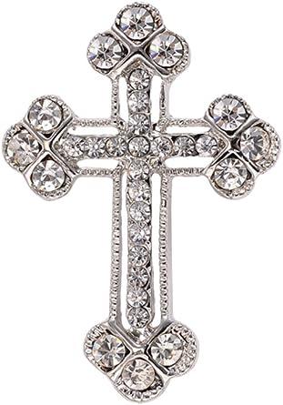 OULII Spilla a forma di Croce con strass per regalo di festa della Mamma